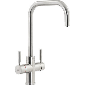 Image of Abode Protex 3 in 1 Steaming Water Monobloc Sink Tap - Brushed Nickel