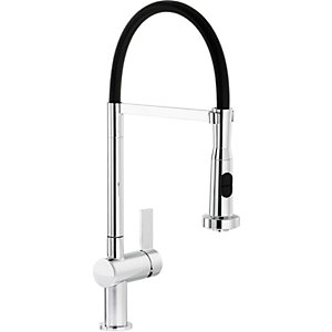 Image of Abode Ophelia Single Lever Pull Out Spray Sink Tap - Chrome & Black