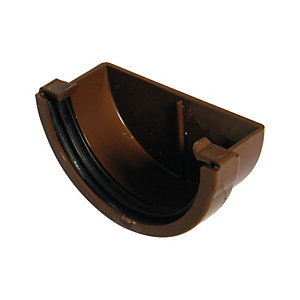 FloPlast 76mm Miniflo Gutter External Stopend - Brown