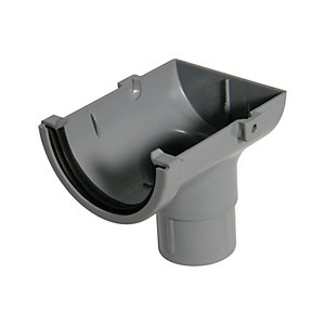 FloPlast 76mm MiniFlo Gutter Stopend Outlet - Grey