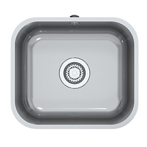 Image of Perth Square 1 Bowl Inset Kitchen Sink - Stainless Steel