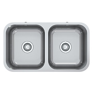 perth square 2 bowl inset kitchen sink stainless steel wickes co uk rh wickes co uk small two bowl kitchen sink plumbing two bowl kitchen sink