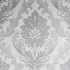 Boutique Corsetto Damask Light Silver Decorative Wallpaper - 10m