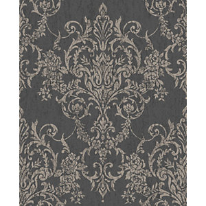 Superfresco Easy Victorian Damask Black Decorative Wallpaper - 10m