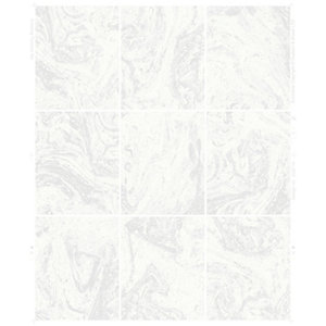 Contour Glitter Marble Tile White Decorative Wallpaper - 10m