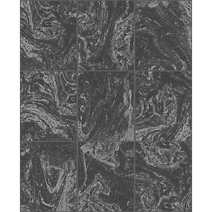 Contour Glitter Marble Tile Black Decorative Wallpaper - 10m