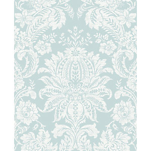Superfresco Easy Venetian Damask Blue Decorative Wallpaper - 10m
