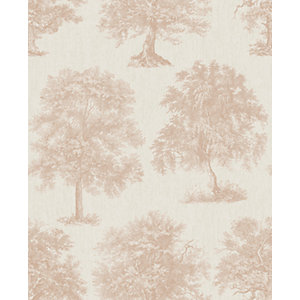 Superfresco Easy Enchanted Tree Rose Gold Decorative Wallpaper - 10m