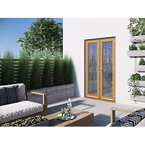 Jeld-Wen Kinsley Hardwood French Doors Golden Oak Finish