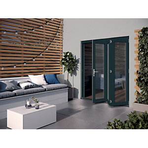 Jeld-Wen Bedgbury Finished Solid Hardwood Patio Bifold Door Set Grey
