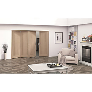 Jeld-Wen Geneva Oak Cottage 5 Panel Internal Bi-Fold 4 Door Set - 2047mm x 2545mm