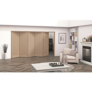 Jeld-Wen Geneva Oak Cottage 5 Panel Internal Bi-Fold 5 Door Set - 2047mm x 3158mm