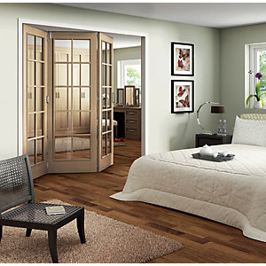 Jeld-Wen Fully Glazed Oak 10 Lite Internal Bi-Fold 3 Door Set - 2047mm x 1929mm