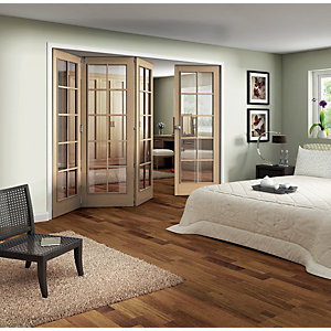 Jeld-Wen Internal Folding Oak Veneer 10 Lite Clear Glazed 4 Door -  2047 x 2545mm