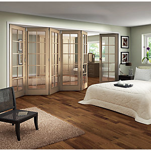 Jeld-Wen Fully Glazed Oak 10 Lite Internal Bi-Fold 6 Door Set - 2047mm x 3771mm