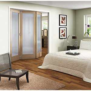 Jeld-Wen Oxford Internal BiFold Oak Veneer Obscure Glazed 1 Lite 3 Door -  2047 x 1929mm