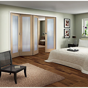 Jeld-Wen Oxford Fully Glazed Oak 1 Lite Internal Bi-Fold 4 Door Set - 2047mm x 2545mm