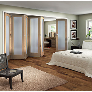 Jeld-Wen York Internal Folding Oak Veneer Obscure Glazed 1 Lite 6 Door -  2047 x 3771mm
