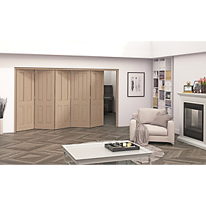 Jeld-Wen Cobham Oak 4 Panel Internal Bi-Fold 5 Door Set - 2047mm x 3158mm