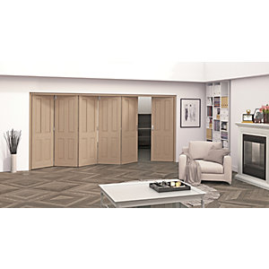 Jeld-Wen Cobham Oak 4 Panel Internal Bi-Fold 6 Door Set - 2047mm x 3771mm