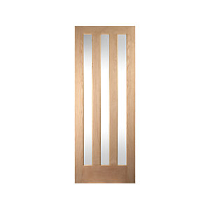 Jeld-wen York Internal Vertical 3 Lite Clear Glazed Oak Door - 1981 x 610mm