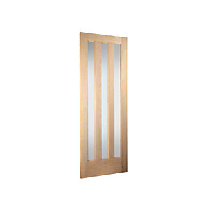 Jeld-wen York Internal Vertical 3 Lite Obscure Glazed Oak Door - 1981 x 686mm