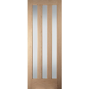 Jeld-Wen Aston Obscure Glazed Oak 3 Lite Internal Door - 1981mm