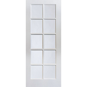 Jeld-wen Internal White Primed MDF Door 10 Lite Clear Glazed 1981 x 762mm