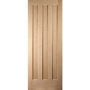 Jeld-wen York Internal Vertical 3 Panel Oak Veneer Fire Door - 1981 x 686mm