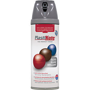 Plastikote Multi-surface Spray Paint - Gloss Medium Grey 400ml