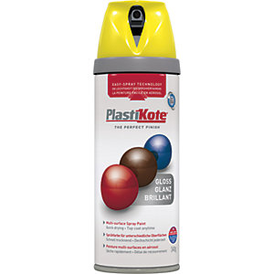 Plastikote Multi-surface Spray Paint - Gloss New Yellow 400ml