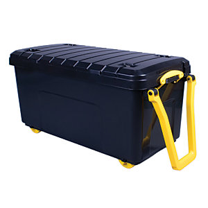 Image of Really Useful Black Large Plastic Wheeled Trunk - 160L