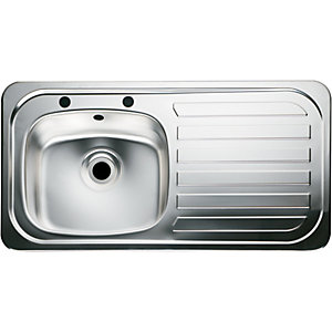 Moray 1 Bowl Right Hand Drainer Kitchen Sink - Stainless Steel
