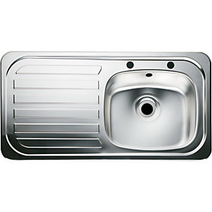 Moray 1 Bowl Left Hand Drainer Kitchen Sink - Stainless Steel