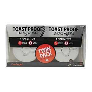 FireAngel Toast Proof Smoke Alarm 1 Year Battery Twin Pack