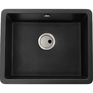 Abode Matrix Square 1 Bowl Under Mount Granite Kitchen Sink - Black