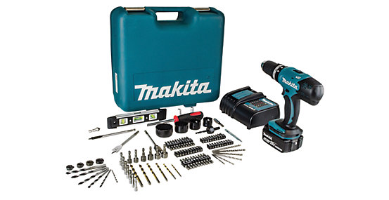Makita 18V Combi Drill With 101 Piece Drill And Driver Set
