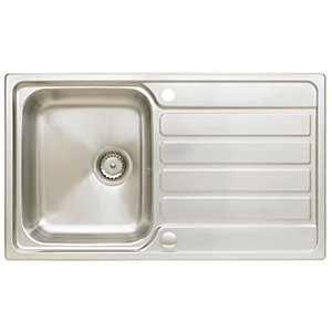Image of Wickes Elise 1 Bowl Compact Kitchen Sink - Stainless Steel