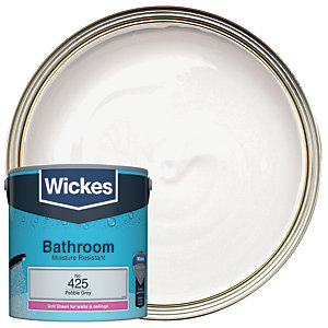 Wickes Pebble Grey - No. 425 Bathroom Soft Sheen Emulsion Paint - 2.5L
