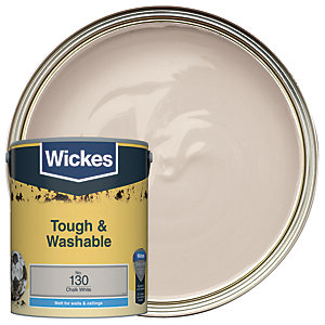 Wickes Chalk White - No. 130 Tough & Washable Matt Emulsion Paint - 5L