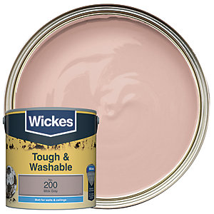 Wickes Mink Grey - No. 200 Tough & Washable Matt Emulsion Paint - 2.5L