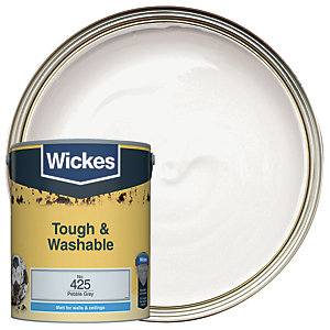 Wickes Pebble Grey - No. 425 Tough & Washable Matt Emulsion Paint - 5L