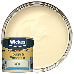 Wickes Vanilla - No. 300 Tough & Washable Matt Emulsion Paint - 2.5L