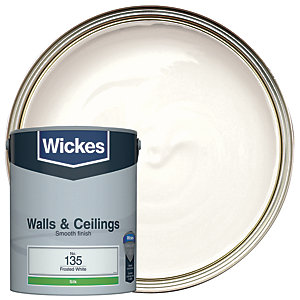 Wickes Frosted White - No. 135 Vinyl Silk Emulsion Paint - 5L