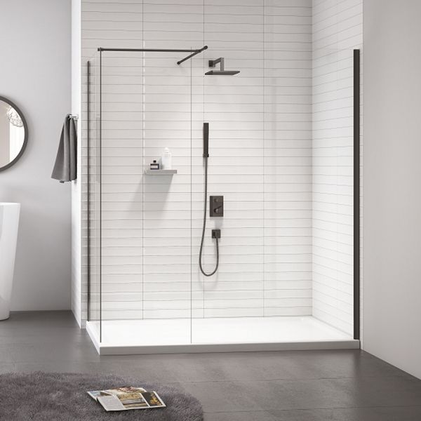 8mm Frameless Black Showerwall