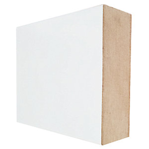 Wickes Square Edge Primed MDF Skirting - 18mm x 94mm x 2.4m Pack of 4