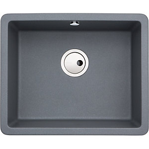 Abode Matrix Square 1 Bowl Under Mount Granite Kitchen Sink - Grey