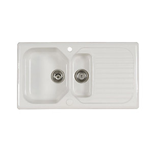Wickes Garrigue 1.5 Bowl Ceramic Kitchen Sink - White
