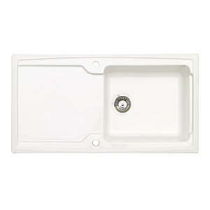 Wickes Contemporary 1 Bowl Ceramic Kitchen Sink - White