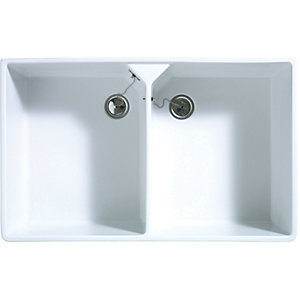 Image of Wickes Butler 2 Bowl Ceramic Kitchen Sink - White
